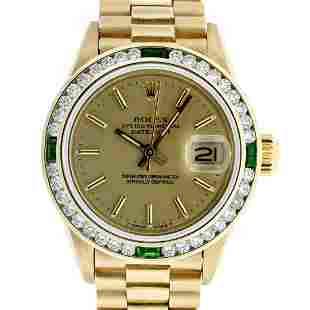 Rolex Ladies 18K Yellow Gold Emerald And Champagne