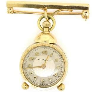 Vintage Unique 14K Yellow Gold Wittnauer 17 Jewel