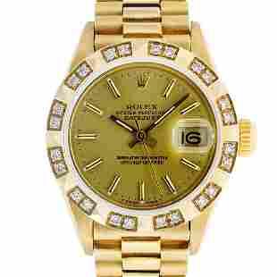 Rolex Ladies 18K Yellow Diamond And Champagne Index