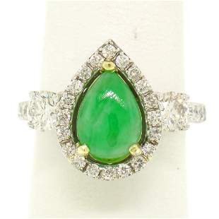 14k Two Tone Gold Pear Jade & Large Diamond Accents w/