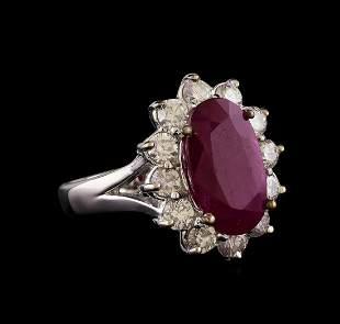 GIA Cert 4.09 ctw Ruby and Diamond Ring - 14KT White