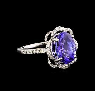 14KT White Gold 3.09 ctw Tanzanite and Diamond Ring