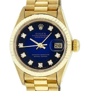 Rolex Ladies 18K Yellow Gold Blue Vignette Diamond