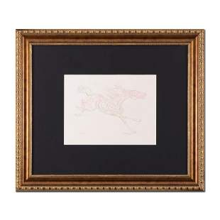 "Guillaume Azoulay, ""Etude AZE"" Framed Original Drawing,"