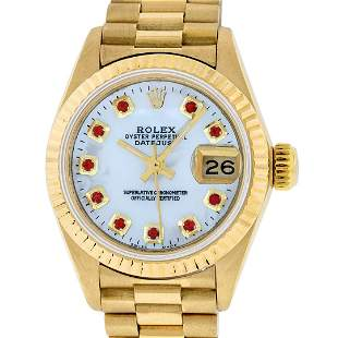 Rolex Ladies 18K Yellow Gold Mother Of Pearl Ruby