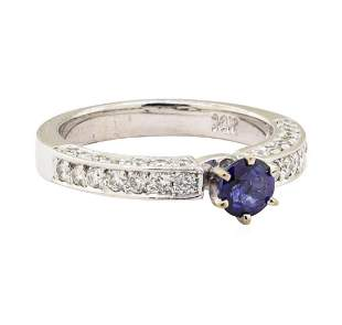 1.20 ctw Blue Sapphire And Diamond Ring - 14KT White