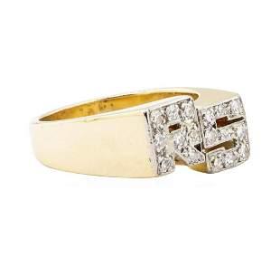 "0.50 ctw Diamond ""RS"" Initial Men's Ring - 14KT Yellow"