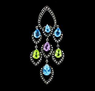 4.00 ctw Multi-Color Gemstone and Diamond Pendant -