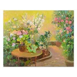 "Ming Feng, ""Cobblestone Walkway"" Original Oil Painting"