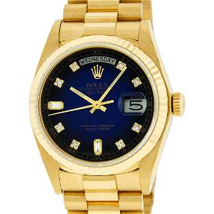 Rolex Mens 18K Yellow Gold Blue Vignette Diamond