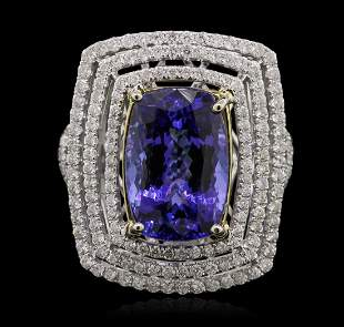 14KT Yellow and White Gold 8.13 ctw Tanzanite and