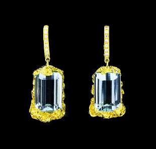 18.00 ctw Aquamarine And Diamond Earrings - 18KT Yellow