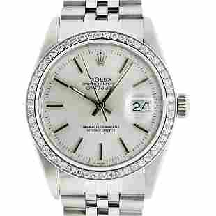 Rolex Mens Stainless Steel Silver Index 36MM Datejust