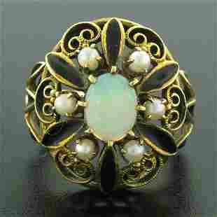 14k Yellow Gold Opal Pearl Black Enamel Large Dome