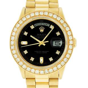 Rolex Mens 18K Yellow Gold Black Diamond 2.5 ctw