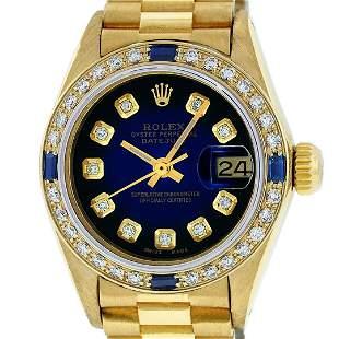 Rolex Ladies 18K Yellow Gold Sapphire Blue Vignette