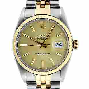 Rolex Mens 2 Tone Champagne Index 36MM Oyster Perpetual