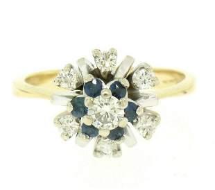 14k Yellow & White Gold 0.65 ctw Diamond Sapphire 3