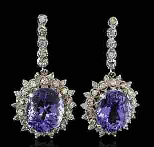 14.78 ctw Tanzanite and Diamond Earrings - 14KT White