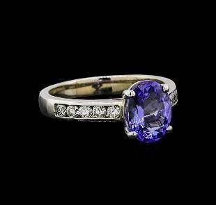 14KT White Gold 2.07 ctw Tanzanite and Diamond Ring