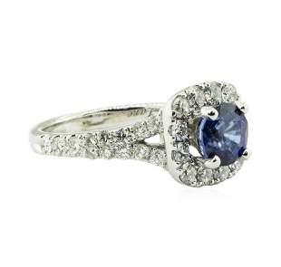 2.47 ctw Round Brilliant Blue Sapphire And Diamond Ring