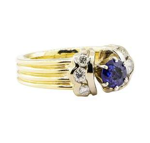 1.27 ctw Blue Sapphire And Diamond Ring - 14KT Yellow