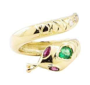 0.66 ctw Emerald, Ruby, and Diamond Snake Ring - 14KT