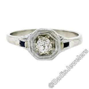 Art Deco 14kt White Gold 0.28 ctw Diamond Solitaire