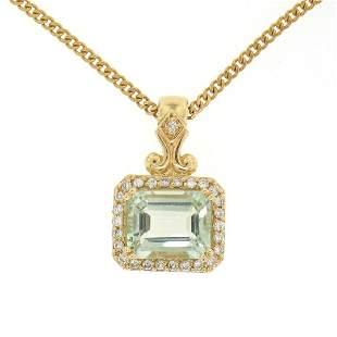 14K Yellow Gold 3.77 ctw VS Diamond Green Amethyst