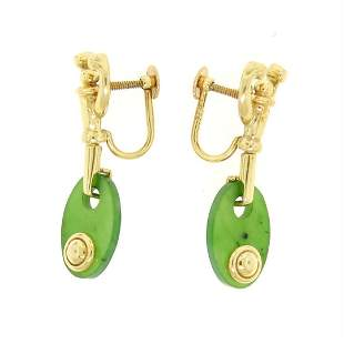 Estate 14kt Yellow Gold Oval Disk Jade Screw On Drop