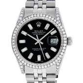 Rolex Mens Stainless Black Baguette Diamond Lugs Oyster