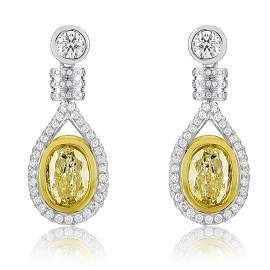 18k Two Tone Gold 4.60 ctw Diamond Earrings,