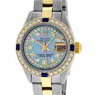 Rolex Ladies 2 Tone 18K Gold Bezel Blue String Diamond