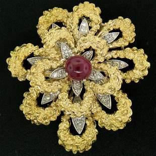 Vintage French 18K TT Gold 4.27 ctw Diamonds & Ruby