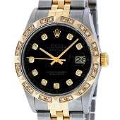 Rolex Mens 2 Tone Black Pyramid Diamond 36MM Oyster