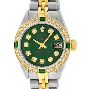 Rolex Ladies 2 Tone Green Diamond & Emerald Datejust