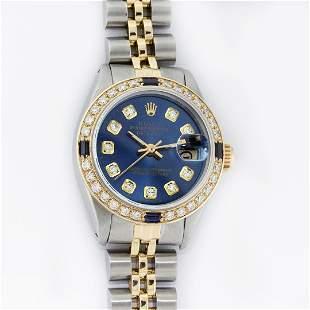 Rolex Ladies 2 Tone YG/SS Blue Diamond & Sapphire