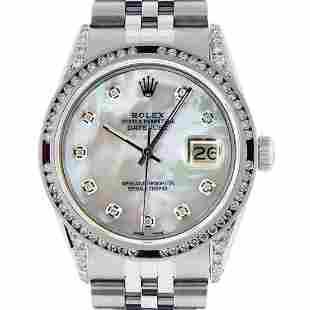 Rolex Mens SS MOP Diamond Lugs & Ruby Channel Set
