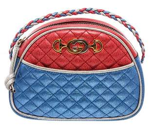 Gucci Red Blue Metallic Quilted Leather Mini Dome