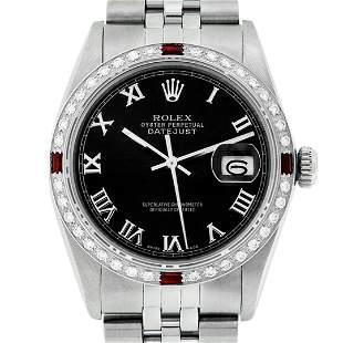 Rolex Mens Stainless Steel Black Roman Diamond & Ruby