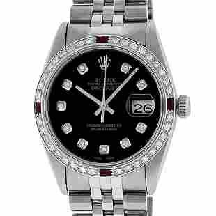 Rolex Mens 36 Datejust Black Diamond & Ruby Oyster