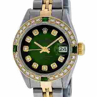 Rolex Ladies 2 Tone Green Vignette Diamond Datejust