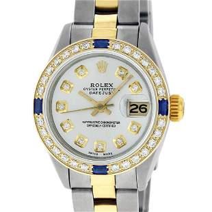 Rolex Ladies 2 Tone 18K Gold Bezel Silver Diamond &