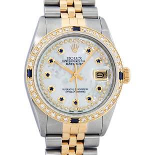 Rolex Mens 2 Tone Mother Of Pearl Diamond & Sapphire