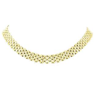 17.75 Inch Five Row Panther Link Chain - 18KT Yellow