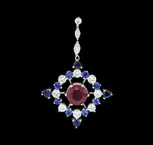 2.22 ctw Ruby, Sapphire and Diamond Pendant - 14KT