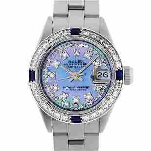 Rolex Ladies SS Blue MOP Diamond & Sapphire 18K Gold