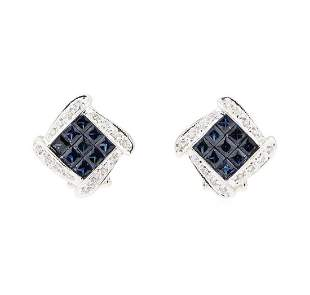 2.21 ctw Sapphire And Diamond Earrings - 14KT White