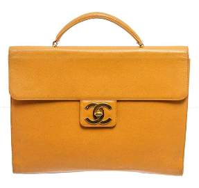 Chanel Yellow Caviar Leather Business Messenger Bag