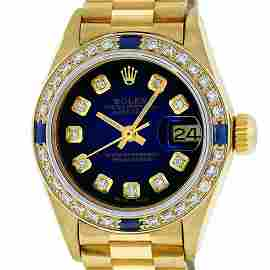 Rolex Ladies 18K Yellow Gold Sapphire Blue Vignette
